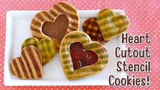 Heart Cutout Stencil Cookies for Valentine's Day バレンタインにハート型抜きステンシルクッキー - OCHIKERON