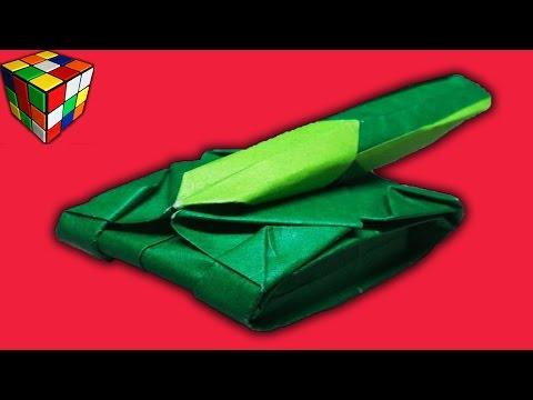 Танк из бумаги. Как сделать танк оригами из бумаги своими руками. Поделки из бумаги.