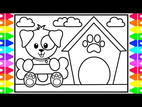 How To Draw A Dog Step By Step For Kids🐶💙Cute Dog Coloring Pages | Fun Coloring Pages For Kids