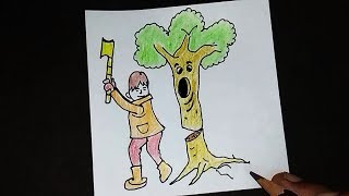 How To Draw SAVE TREES Drawing Tutorial Don 39 t Cut TREES Save EARTH Drawing
