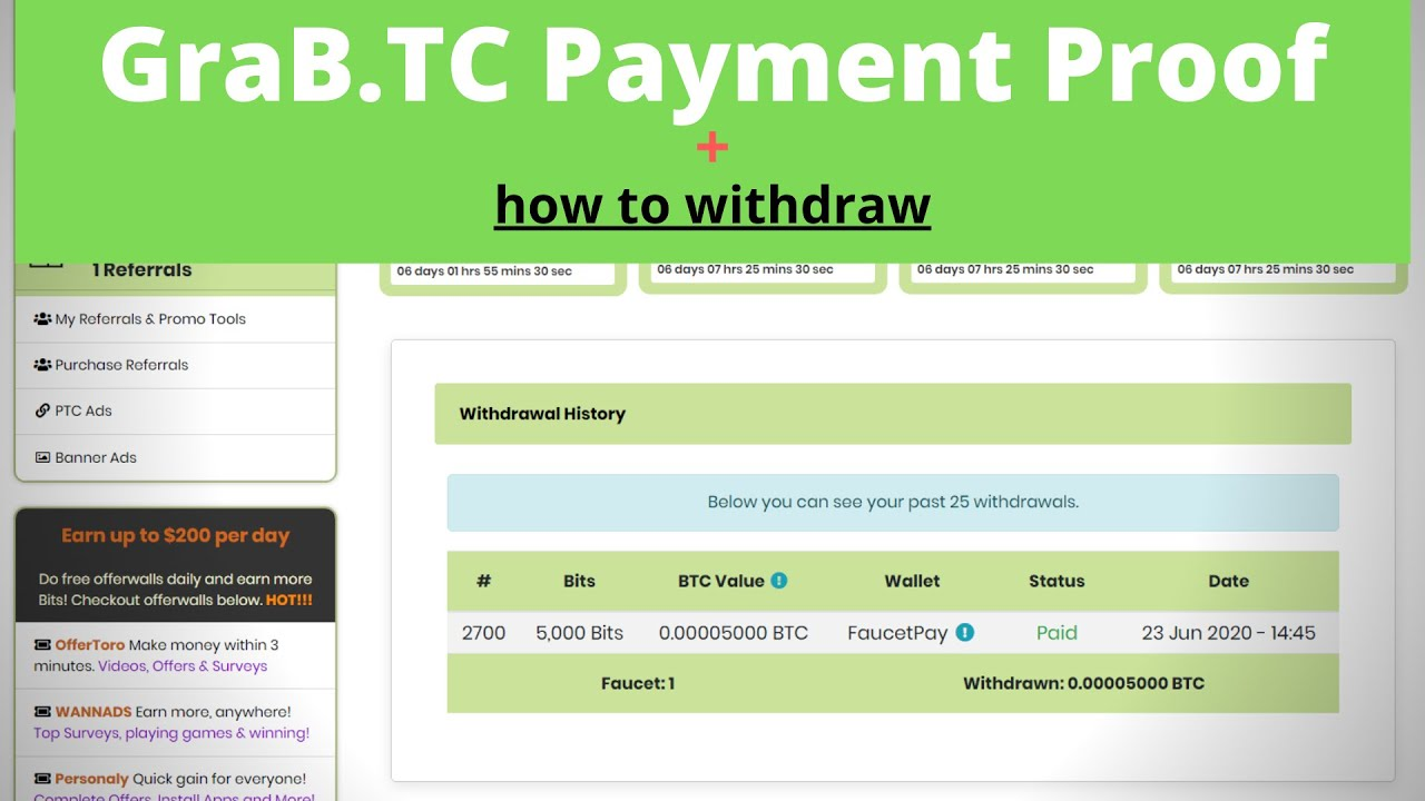 How To Withdraw bitcoins In GraB.TC  +  GraB.TC Payment Proof