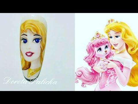 Disney Nail Art, Princess gel polish design  Nail art tutorial by Dorota  Palicka Nail Perfect