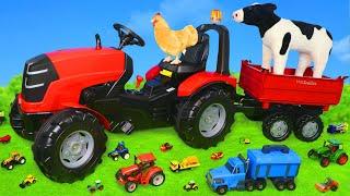 Çocuklar için traktör ve çiftlik hayvanları oyuncak, kamyon ve oyuncak araçları