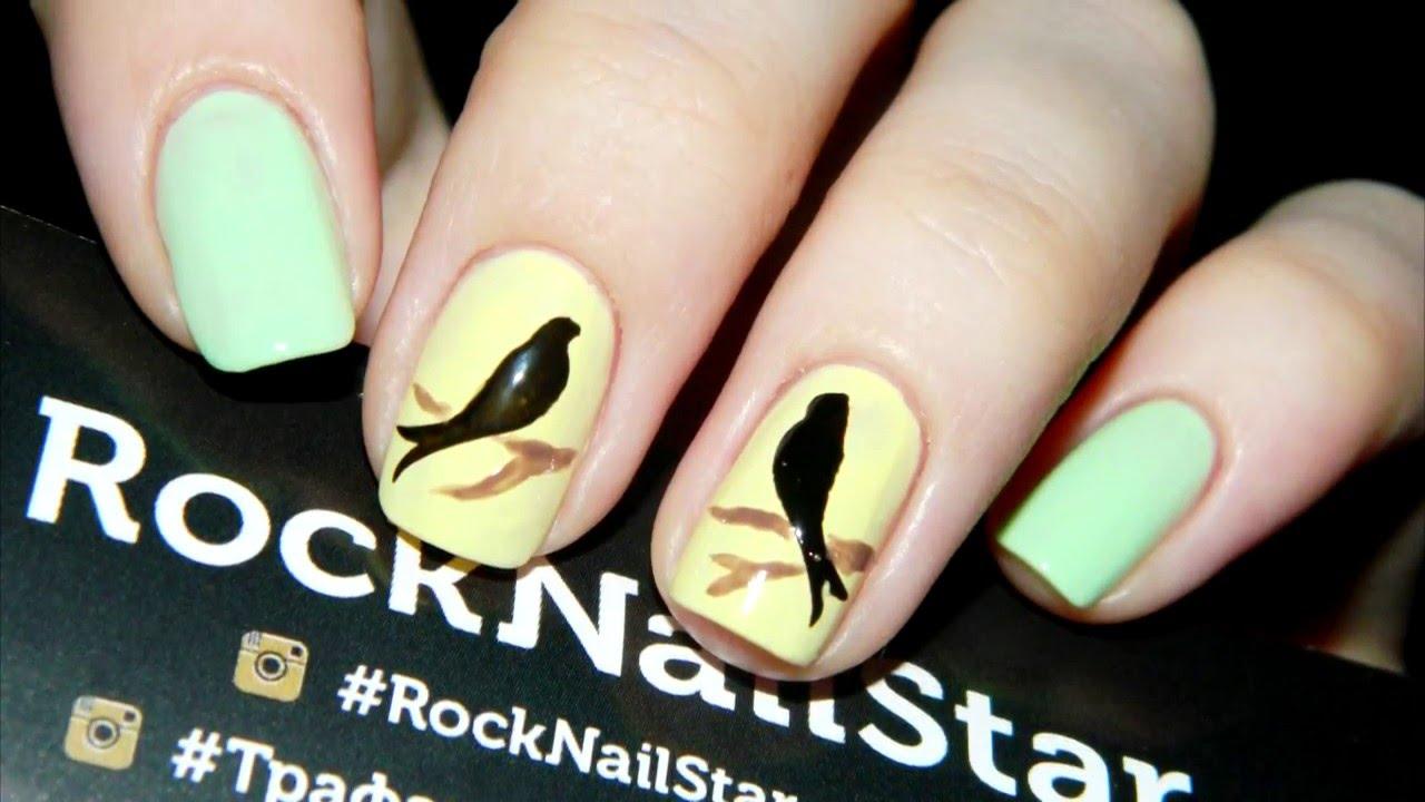 Дизайн ногтей птички