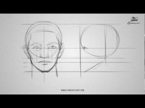 How to draw a male face - front and side view