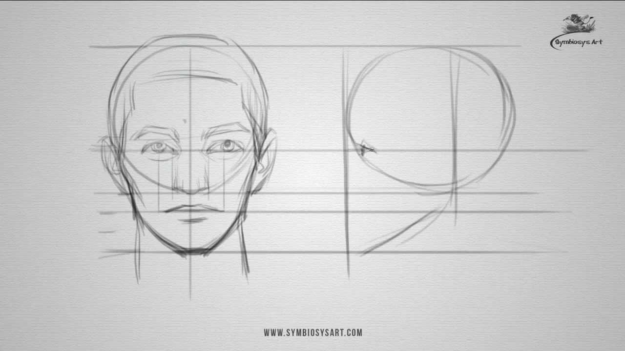 how to draw a male face front and side view [ 1280 x 720 Pixel ]