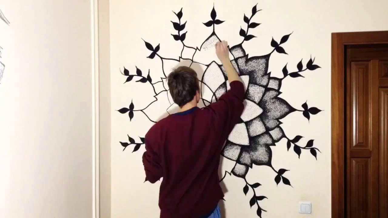 Black Mandala Dotwork On The Wall
