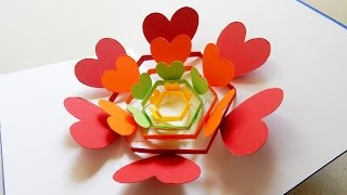 Pop up card (radiant hearts) - learn how to make a heart flower greeting card - EzyCraft