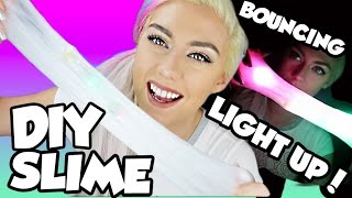 FUN AND EASY DIY LIGHT UP BOUNCING SLIME   GLOW in the DARK Slime! Slime that BOUNCES