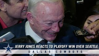 Jerry Jones Reacts to Round 1 Playoff Win Over Seattle Seahawks | Dallas Cowboys 2018