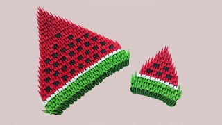 3d origami watermelon | How to make 3d origami watermelon with paper | 3d西瓜 | 三角插折纸教程