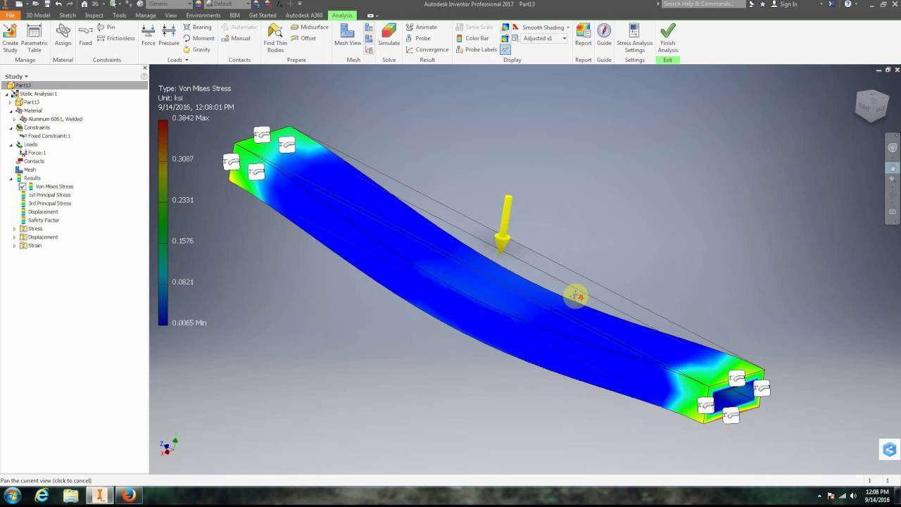 autodesk inventor 2017 13 stress analysis youtube rh youtube com Autodesk Inventor Fea Autodesk Inventor Assembly