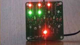 Clock kit that uses a Base-5 (Quinary) format to show the time on a matrix of 24 superbright LEDs. It also has Animated patterns,