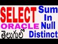 Select Sum, Distinct, In, Null on Oracle in telugu