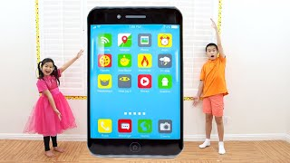 Jannie Pretend Play Have Fun with Making Giant Phone and Toys for Kids