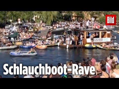 Polizei stoppt Massen-Schlauchboot-Party