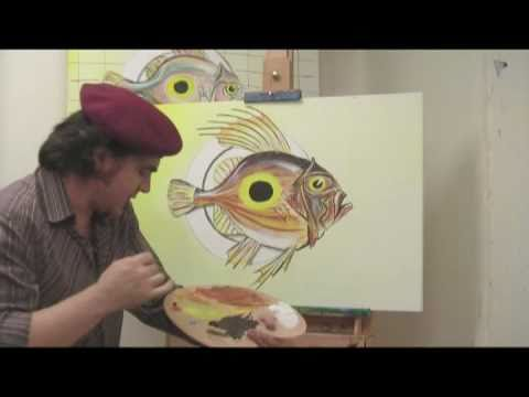 Art lesson how to paint a fish on a plate using acrylic for How to paint a fish