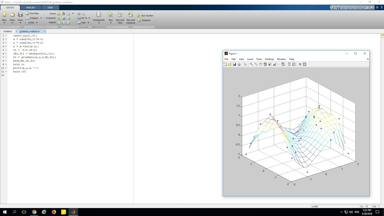 What is MATLAB griddata function using Script
