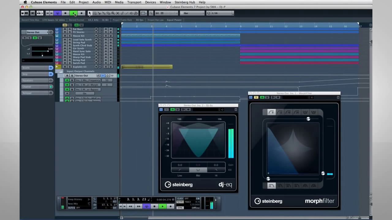 How to Use the DJ EQ, Morph Filter & VST Amp Rack   Getting Started with  Cubase LE AI Elements 7