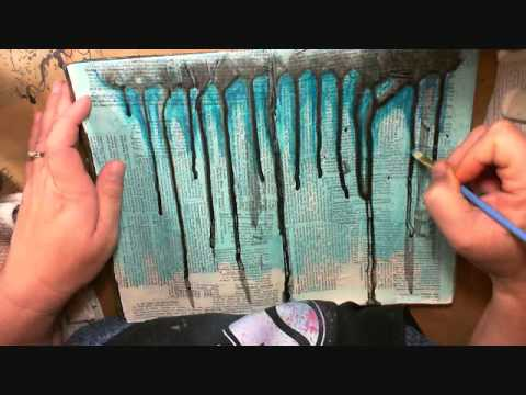 Art journaling textured backgrounds youtube for Background painting ideas