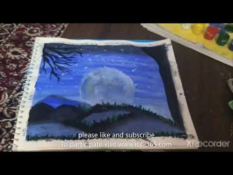 Moon and Night scenery painting
