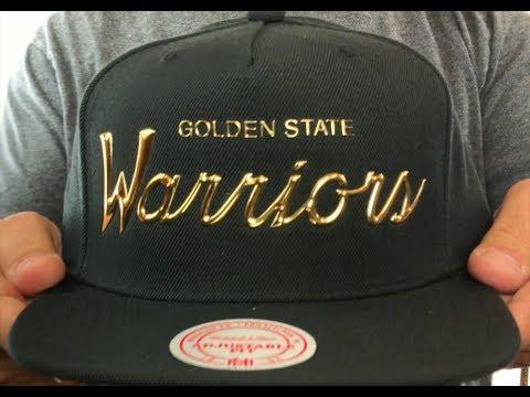 484fb855 Golden State Warriors LIQUID METALLIC SCRIPT SNAPBACK Black-Gold