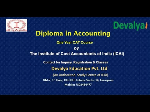 Diploma In Accounting- CAT Course By ICAI