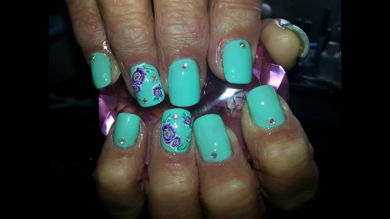 Acrylic Nails L Green Purple L Nail Design Youtube