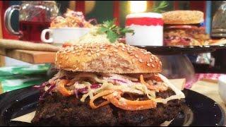 Hamburguesa vegana de soja y vegetariana de berenjenas