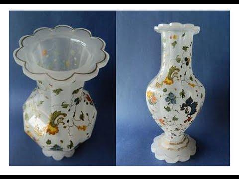 Antique Heavy Cut Moser Era Hand Enamelled Bohemian Glass Vase Circa