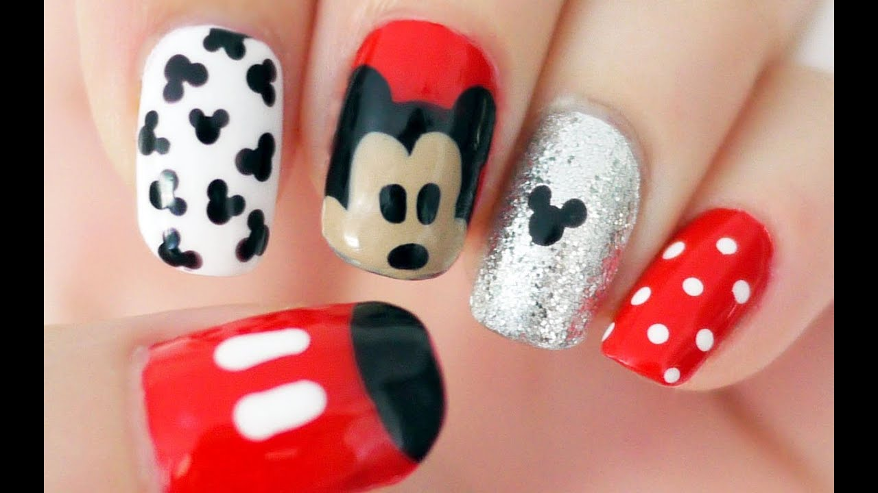disney mickey mouse inspired nails youtube prinsesfo Image collections