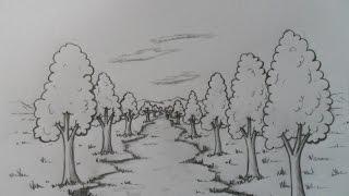 Estudio de Perspectiva con un Punto de Fuga. Paisaje en Caricatura.