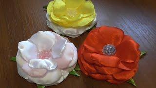 Цветы из атласной ткани  для броши и заколки. Роза из ткани.(Красивые цветы из атласной ткани для заколки - своими руками. Как сделать красивую заколку или брошь из..., 2016-02-08T16:19:16.000Z)