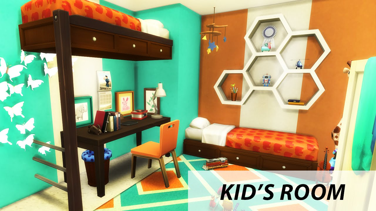 Kid 39 s room the sims 4 room build bunk bed youtube for How to make a loft room