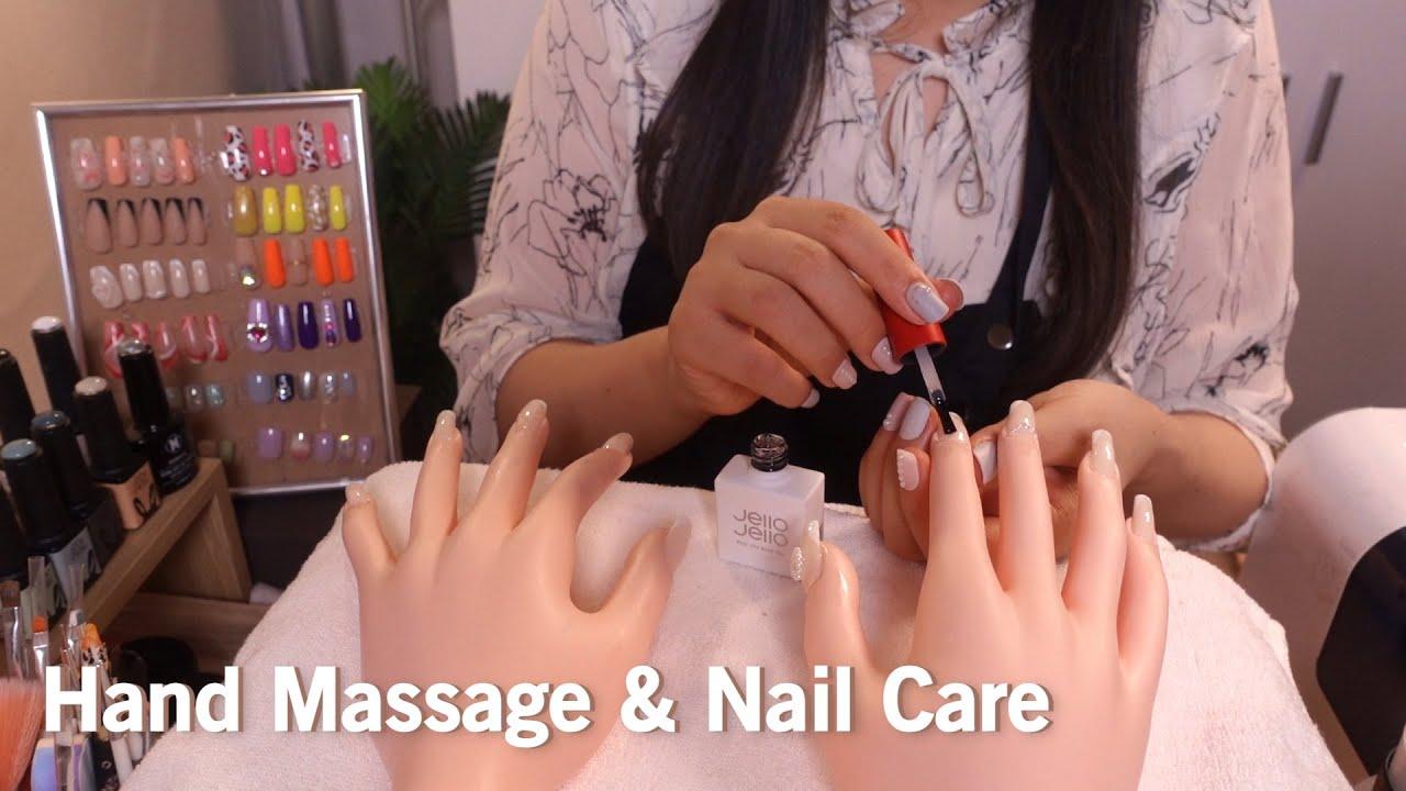 ASMR Relaxing Hand Massage, Nail Care & Art 💅 No Talking (Layered Sounds)
