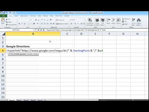 Excel - Hyperlink & Google Maps Directions