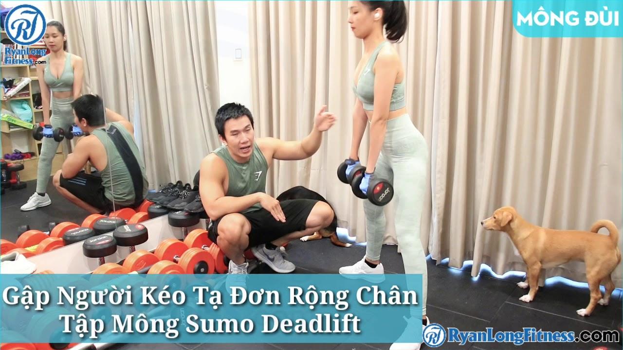 Gập Người Kéo Tạ Đơn Rộng Chân Tập Mông Sumo Deadlift   Nữ   Junie HLV Ryan Long Fitness