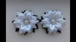 Школьные черно белые бантики из лент 25 см МК Канзаши  School Black And White Bows Kanzashi MK