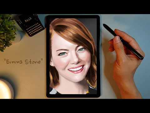 Drawing Emma Stone Using Artflow In Galaxy Tab [갤럭시탭으로 엠마스톤 그리기]