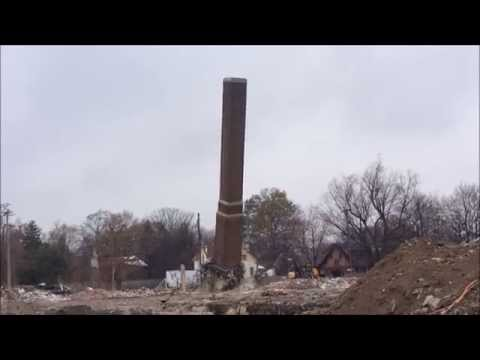 Higgins School chimney demolition