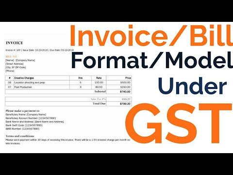 ✓ Invoice Under GST, Format/Model, Tax Invoice, Bill of Supply - invoice bill