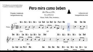 Los Peces en el Río Partitura con Notas y Acordes Flautas, Violín, Oboe Villancico