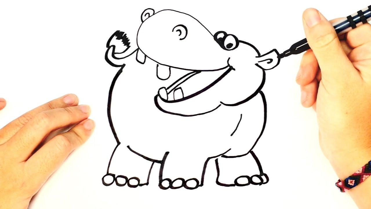 Como Dibujar Un Hipopotamo Paso A Paso Para Ninos Dibujos Faciles