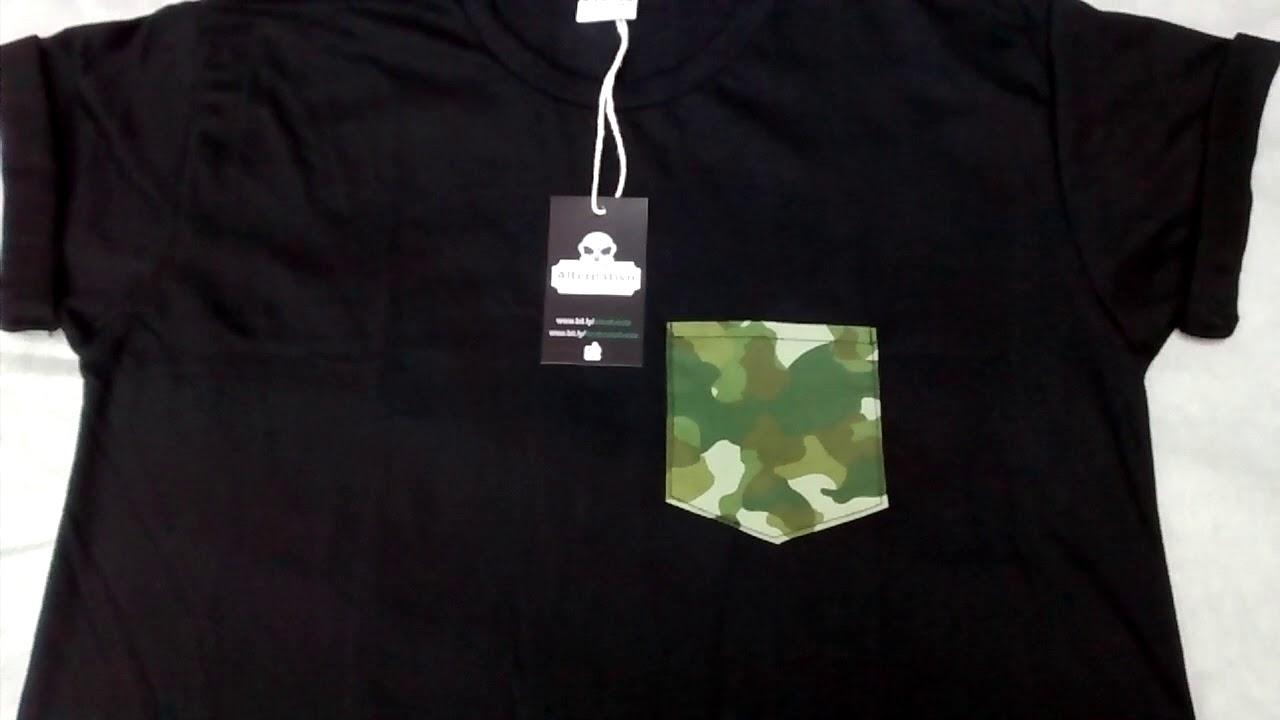 003ad992f Camiseta Camuflada Verde Com Bolso Estampa Militar Exercito - YouTube
