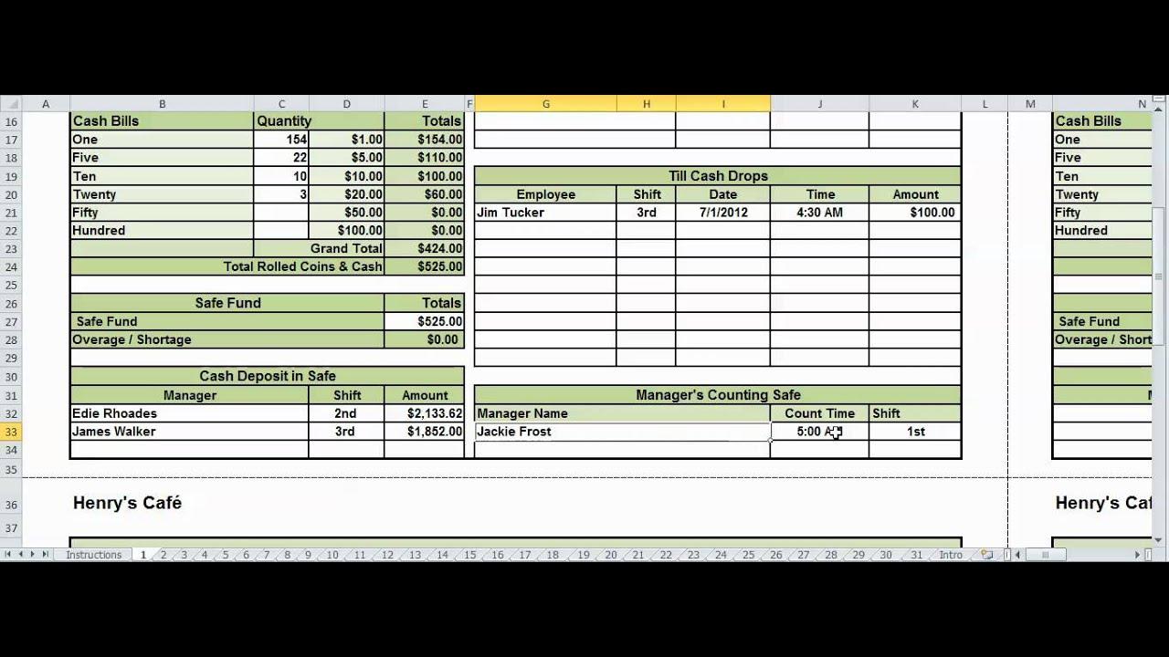 daily cash drawer sheet