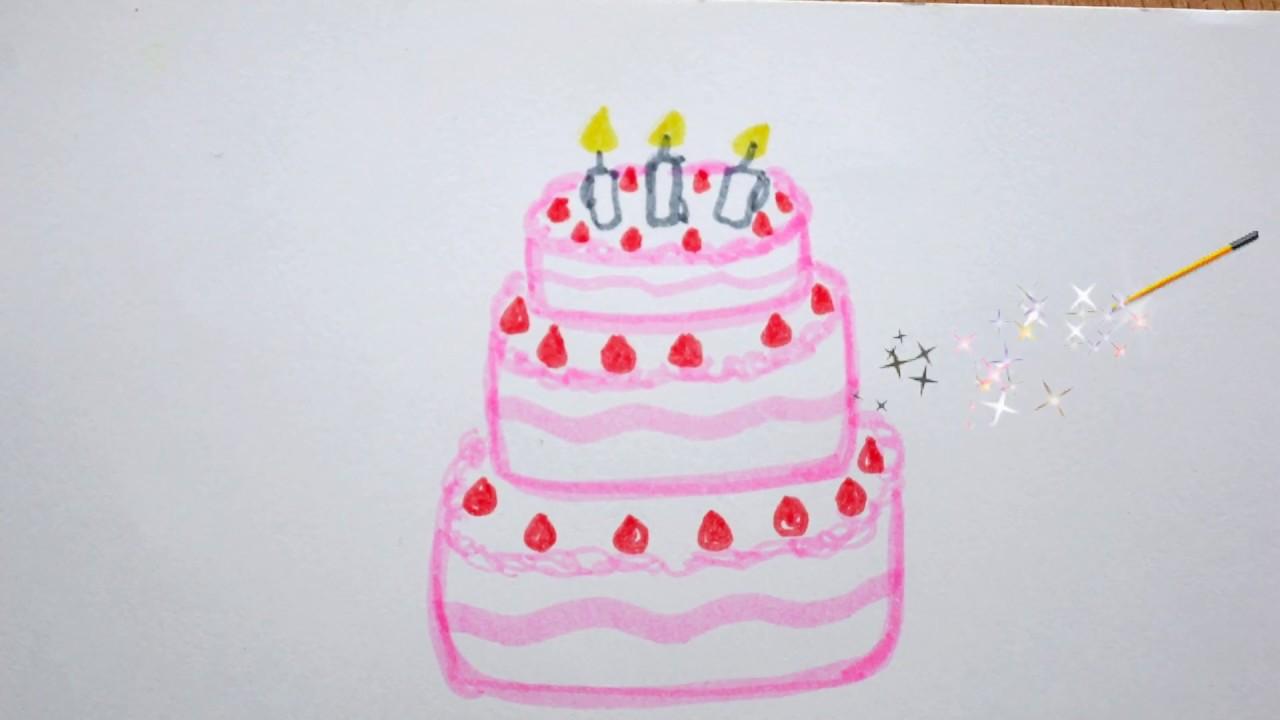 Geburtstagstorte Zeichnen Kuchen Malen How To Draw A Birthday