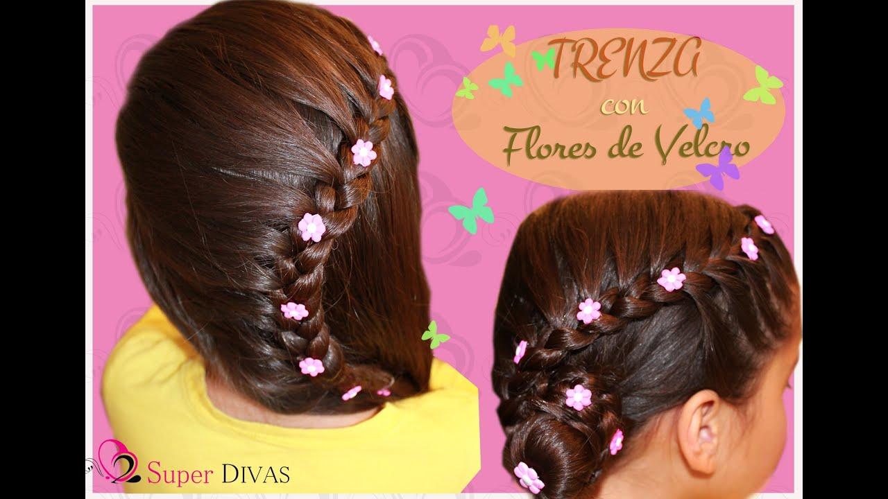 Peinado para fiesta , Trenza y flores de lado. Peinado infantil , para fiesta o novias. , YouTube