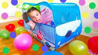 peppa pig camper van huge surprise tent balloons peppa toys and paw patrol baby alive toy doll