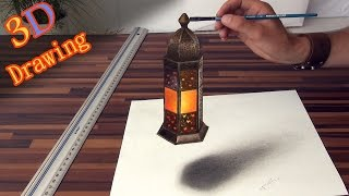 Drawing of a realistic lantern in 3D effect/anamorphic illusion