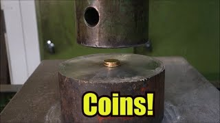 Crushing coins with hydraulic press thumbnail